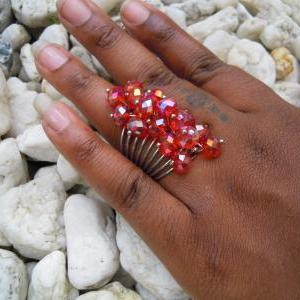 Red Fire Polished Swarovski Rondell..